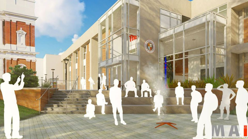 A new gateway and more prominent external presence will proclaim our place in the neighborhood and create a more welcoming atmosphere for all who enter. Plans for the outdoor space include areas for learning, student activity and community engagement, as well as improved signage.
