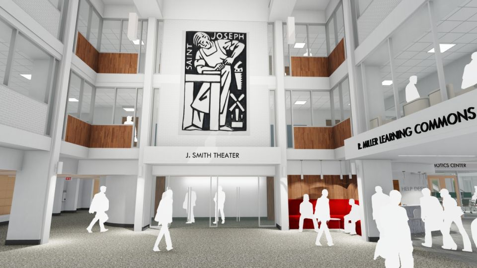 By relocating the security desk toward the entryway, the new Atrium will become an extension of the Learning Commons--a crossroads that serves as a meeting place for students and colleagues to connect throughout the day. The Atrium will also serve as the Theatre waiting area, as well as a place to entertain alumni, parents and guests.
