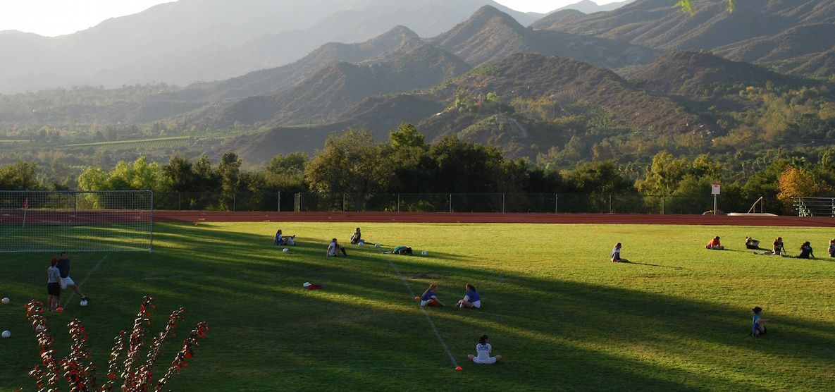"""The quality of the Upper Field makes me feel lucky every single time I step out onto it, soccer ball and cleats in hand. Whether you're looking down the sideline towards the goal, or looking out at a perfect view of the Ojai Valley, there is no better time and place to be than the Upper Field at sunset."""