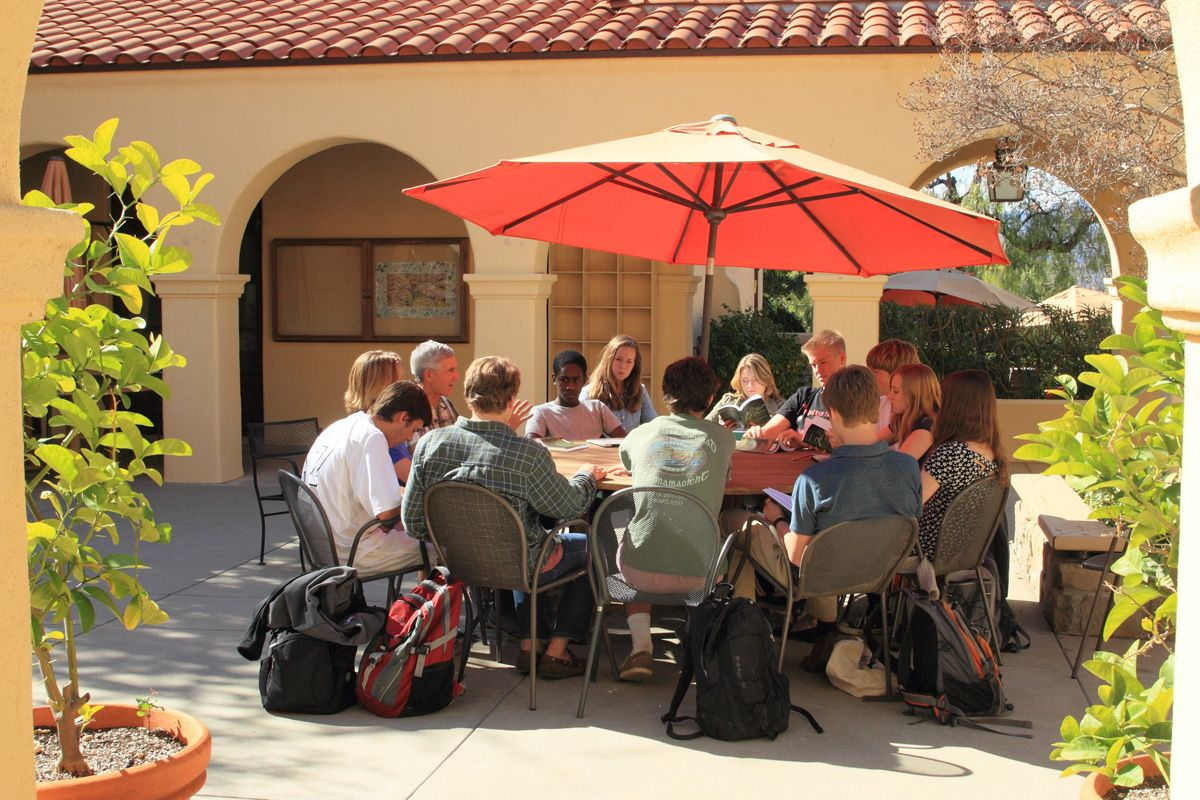 When weather permits, which is pretty often in Southern California, teachers take their classes to one of our many outdoor meeting spaces.