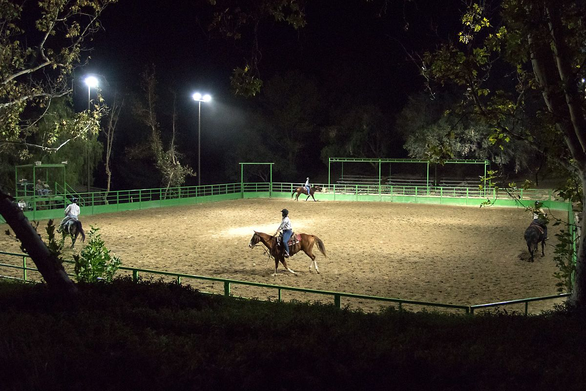 Arenas of various shapes and sizes give our riders places to work on their horsemanship day and night.