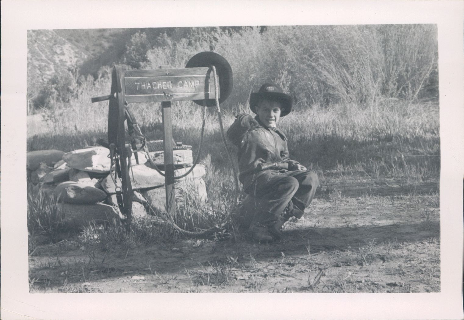 Dad was bound and determined to make me into a little cowboy.  Thus I took my first camping trip to the Sespe at age 4….  Appropriate choice of a camp sign, verdad?