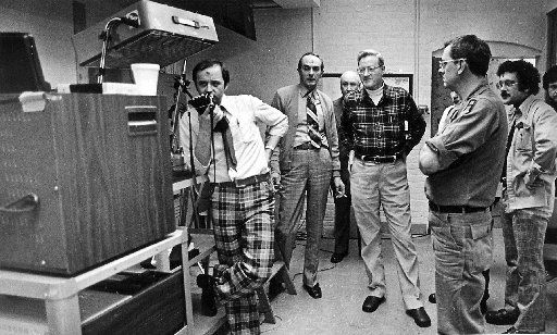 Governor Garrahy (center- wearing what would become his trademark flannel shirt) preparing to address the citizens of Rhode Island during the Blizzard of 1978