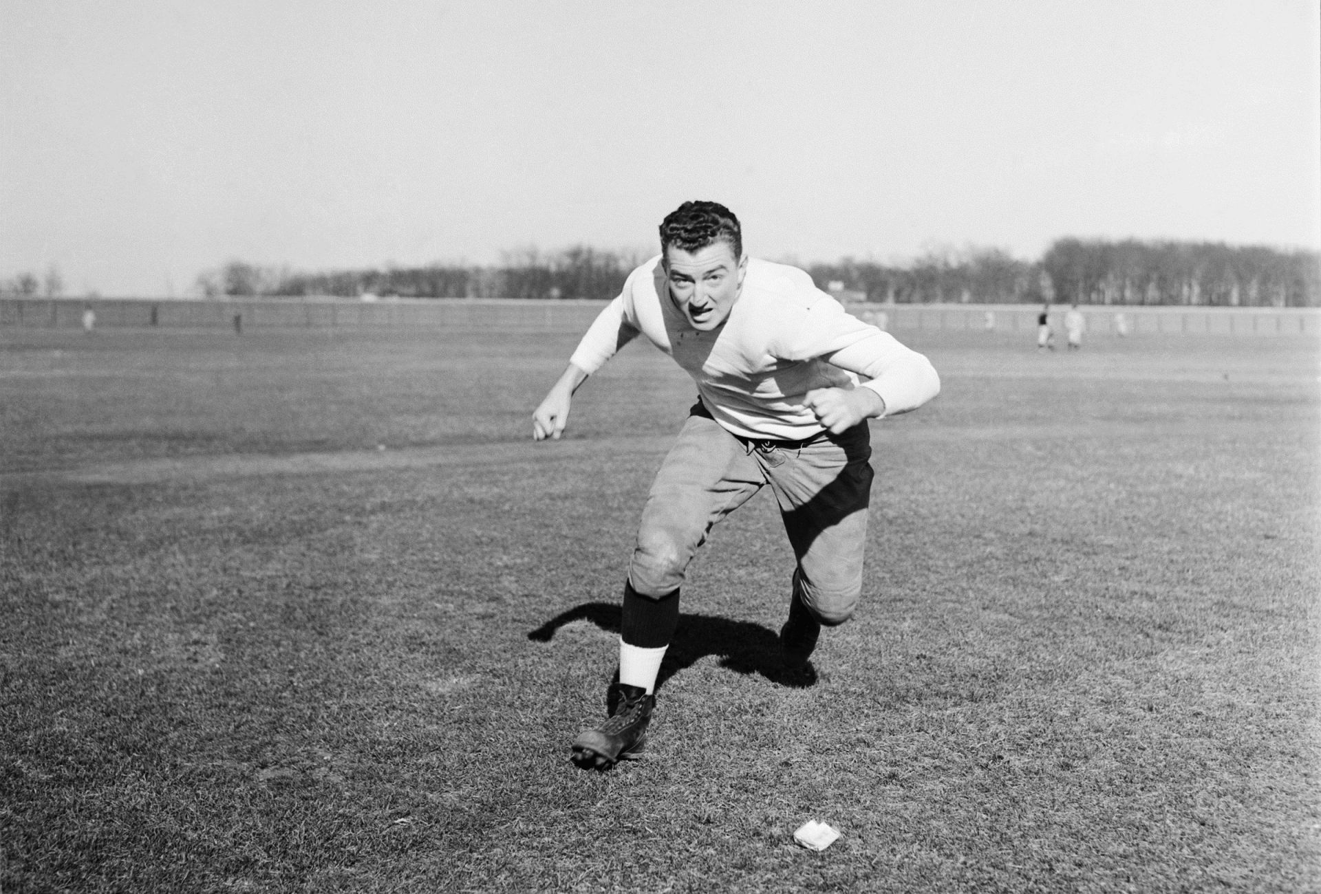 John McIntyre in a publicity photo on the fields of the University of Notre Dame