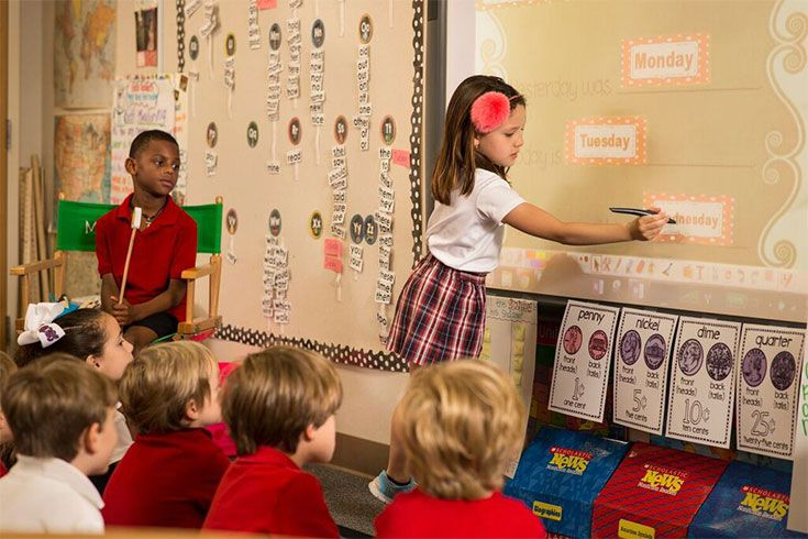 First graders take turns leading class because sometimes, the best way to learn is to teach.