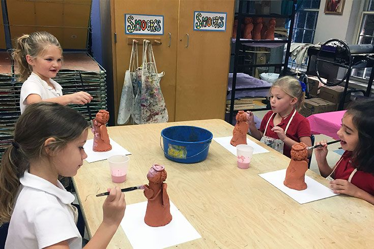 Making ceramic angels at Christmas is one of the most-loved art projects of the first grade year.