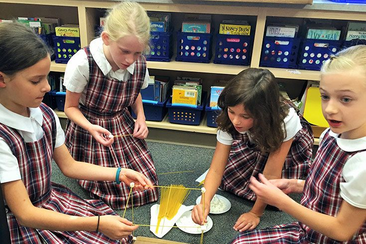 Third graders start the year with a tall order: work as a team to build the highest tower they can, solely out of spaghetti and mini-marshmallows. As with any good team-building exercise, the communication and collaboration are just as valuable as the engineering.