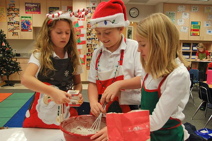 Is it a math assignment, a service project, or a Christmas celebration? All of the above! Fourth graders apply their mastery of fractions and units of measure by making pumpkin bread for the ROBS maintenance crew. The best kind of authentic learning just might be the kind you can eat.