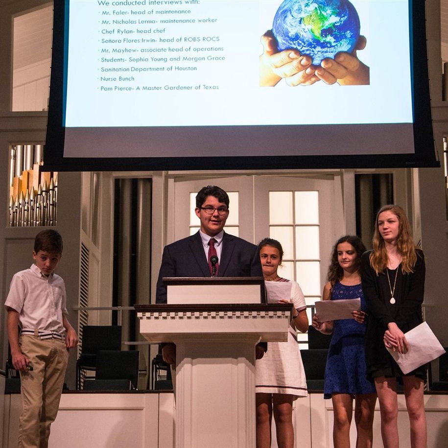 In their Capstone Project, eighth graders use the design-thinking process to engineer a solution to a real-world problem. Composting is coming to ROBS, thanks to the winning team's solution to reduce food waste.