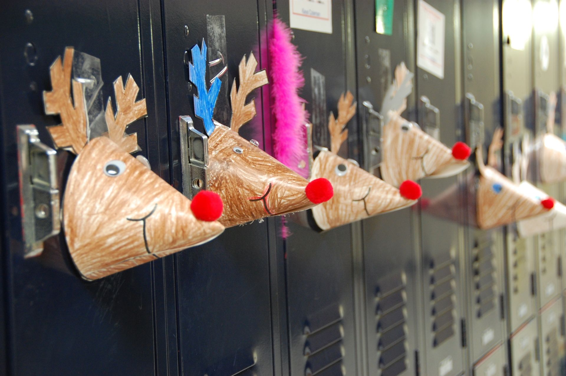 Kindergarteners surprise and delight their sixth grade buddies with whimsical locker decorations,