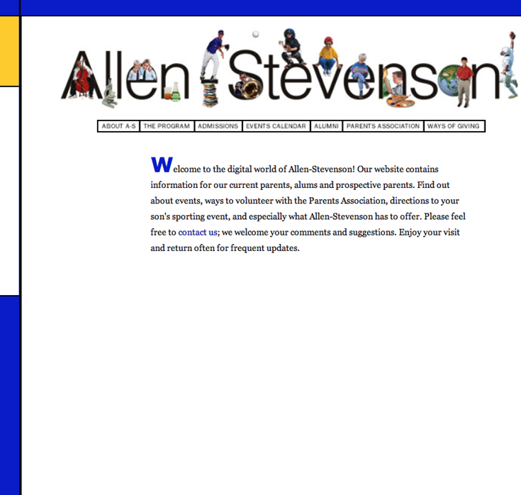 Allen-Stevenson launches its first website.