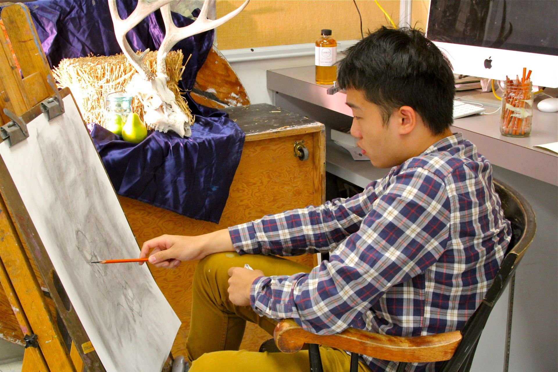 Three studios are available for students to explore and create original art.