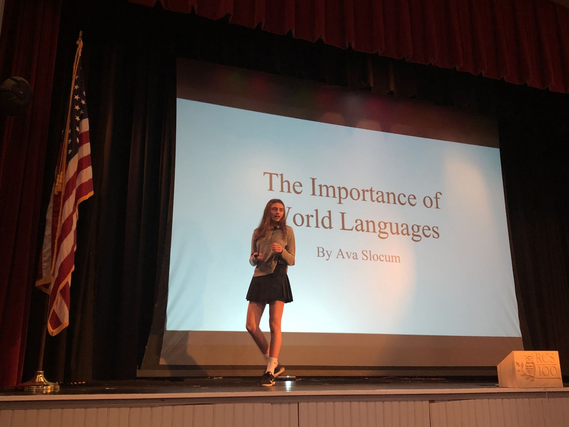 As part of their capstone portfolio, every ninth grader presents a TED Talk in front of students and faculty and writes a ten-page thesis on a subject they are passionate about.