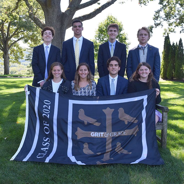 2019-20 Prefect Board: Standing - Travis Paulsen, Liam Seeley, Chris Turino, Ned Blanchard. Seated - Cecilia Raymond, Head Prefect Megan Rittenhouse, Junior Prefect Will Lynch, Lizzy McCoy.