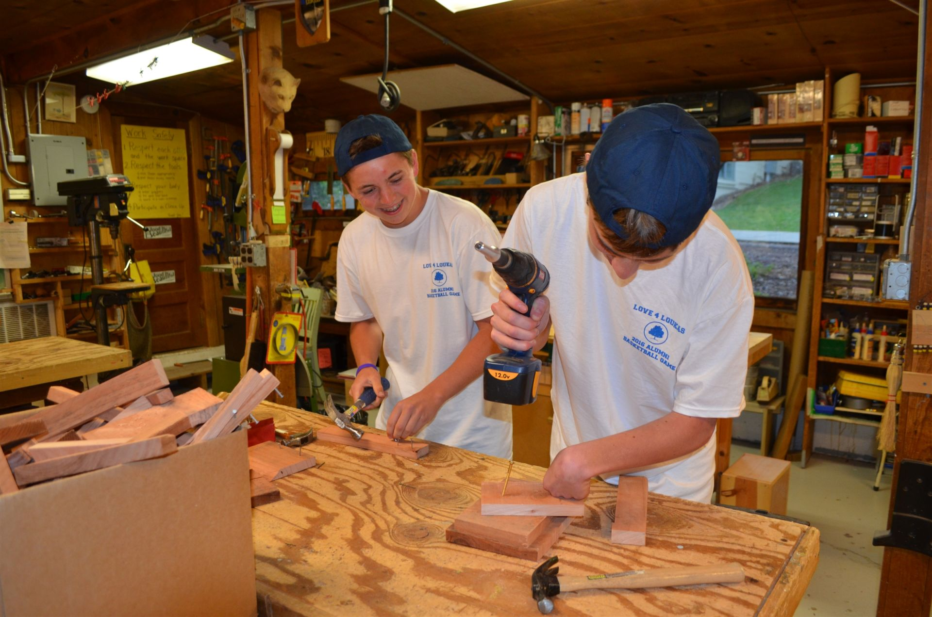 We found many of our alumni returning to the Woodshop. They couldn't wait to pick up a hammer and nails.