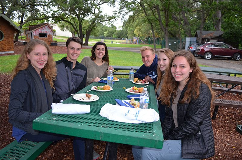 The Class of 2012 and contributors to the new Graduates Video, filmed during this celebration, enjoy a BBQ dinner together. Watch for them (and others from the class of 2012) in our newest Hillbrook Gradautes Video