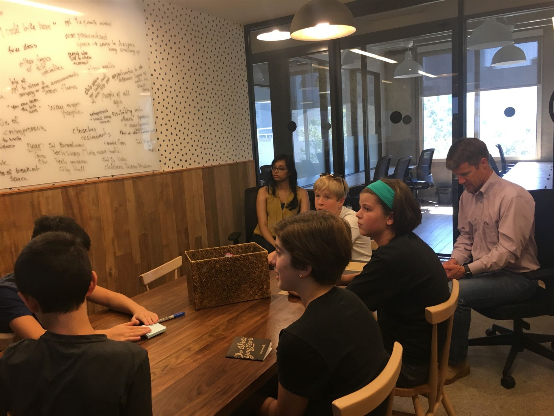 Hillbrook middle school students on a social entrepreneurship field trip to WeWork in Downtown San Jose.