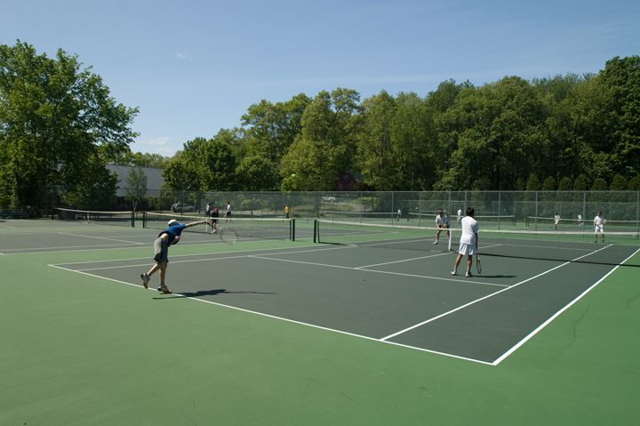 The Matthews Family Tennis Center has eight all-weather tennis courts. Two have lights for night playing.