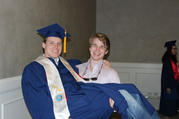 Skeet Singleton '05 picking up his brother Rand '07 at Rand's graduation from Southern Methodist University