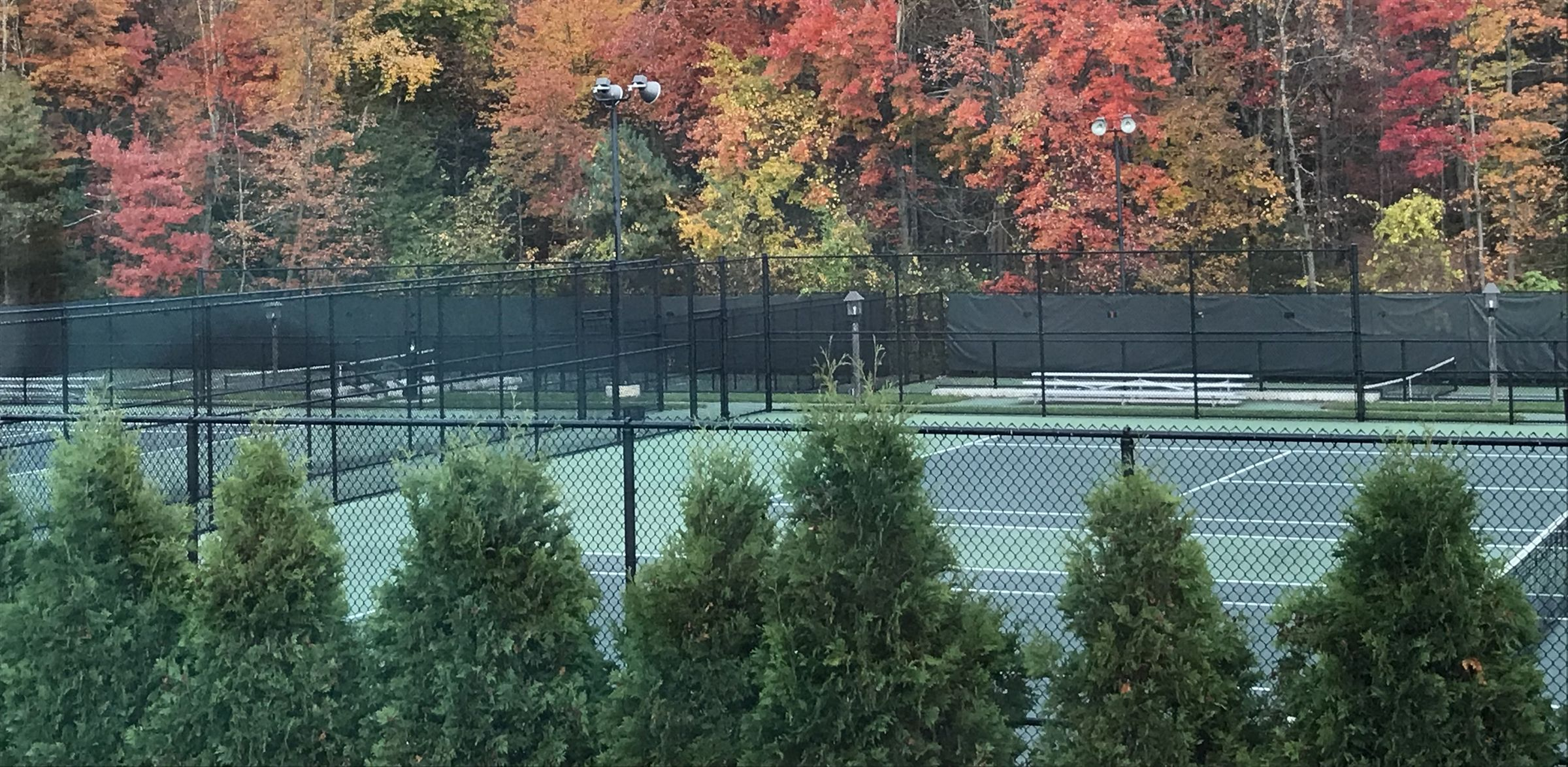 The Matthews Tennis Courts—a gift to the school by Jean Flagler Matthews—are located across from the Schwab Pool. The eight all-weather courts provide a playing surface for the competitive tennis program in the spring and free-time play for all students and faculty throughout the year.