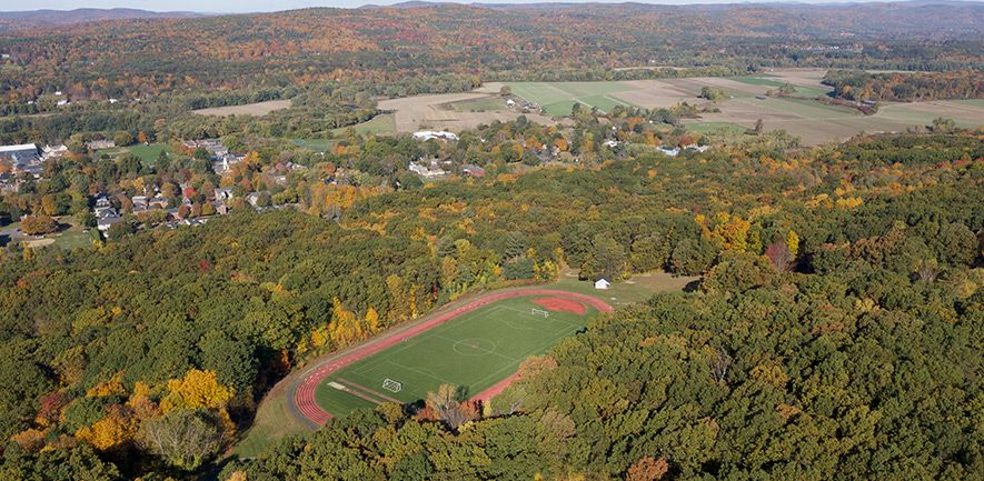 The Lewis Track, built in 2001, has six lanes on an all-weather surface. Runners use the track throughout the year, and in the spring Eaglebrook's track team trains on the surface. Soccer in the fall and Ultimate disc in the spring use the center field for practice and competition.