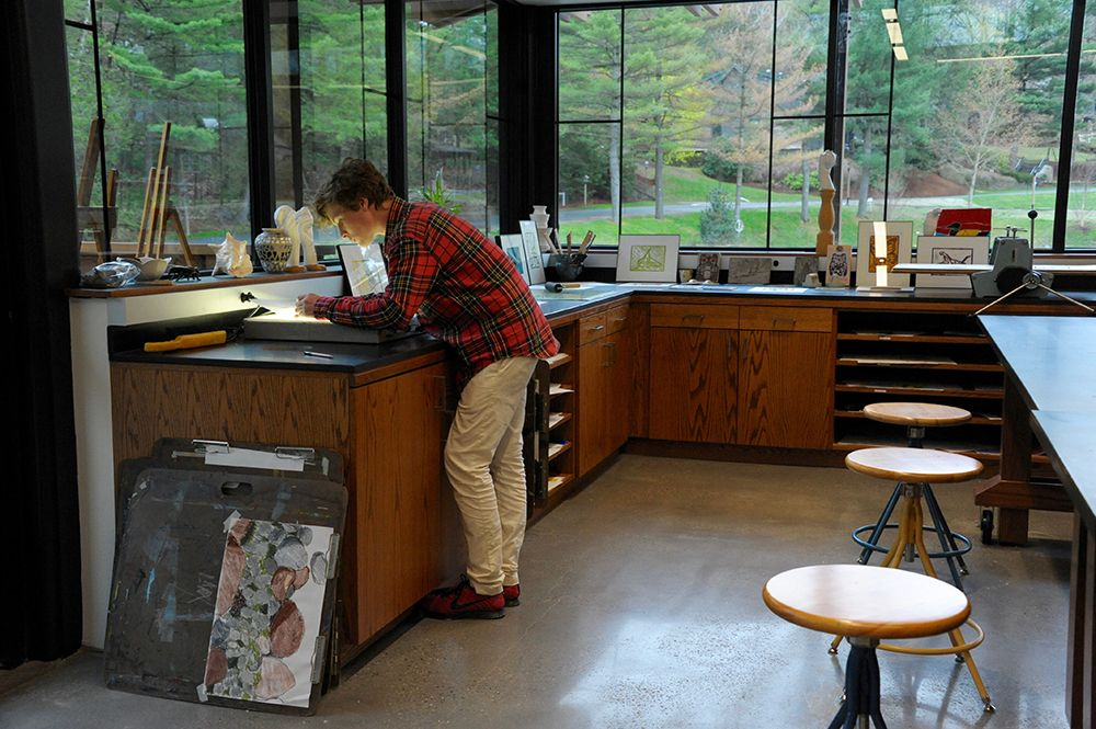 An art classroom in the Edward P. Evans Academic Center