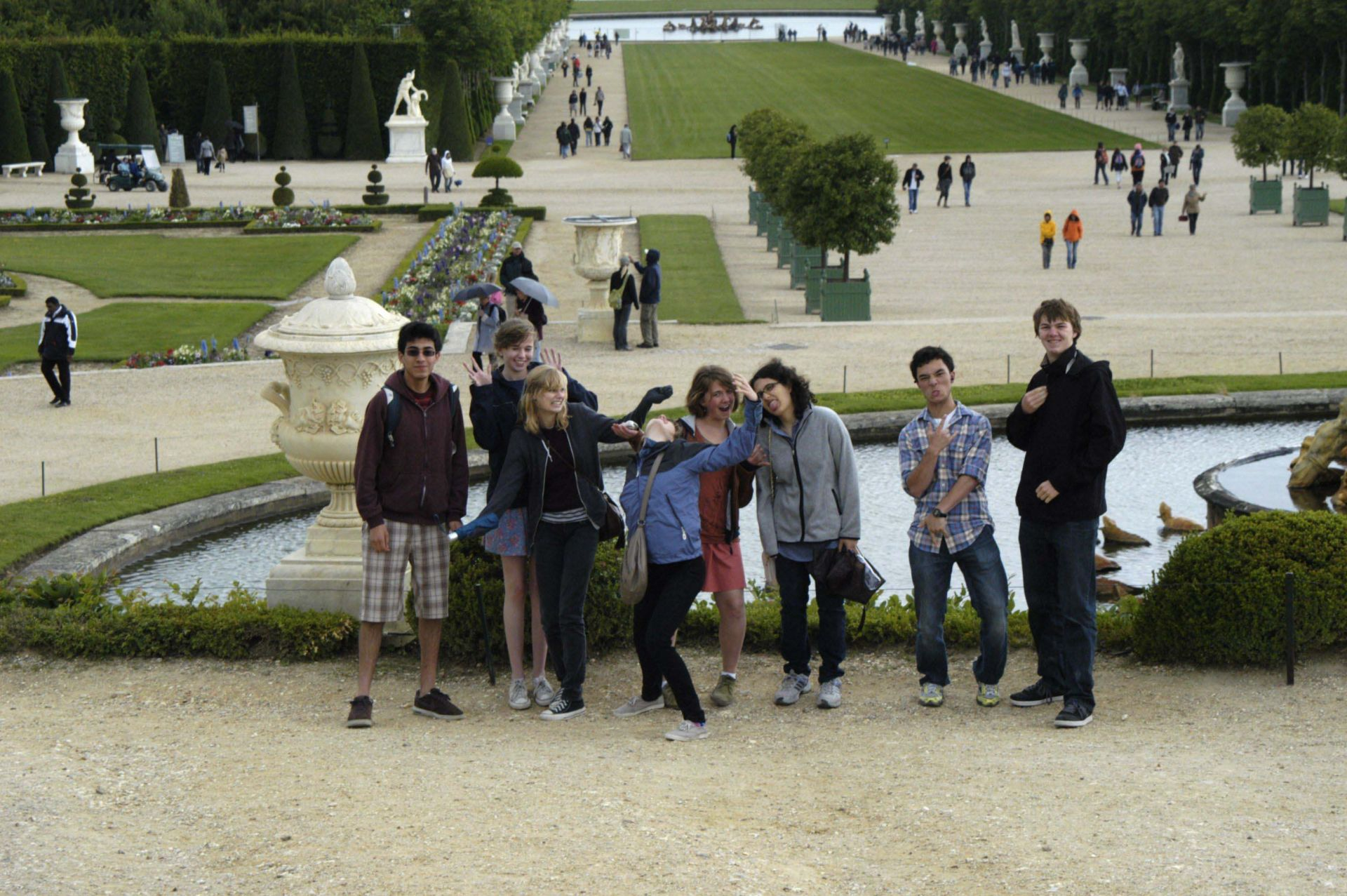 A small group of students trekked through the gardens of Versailles to the Queen's Hamlet.