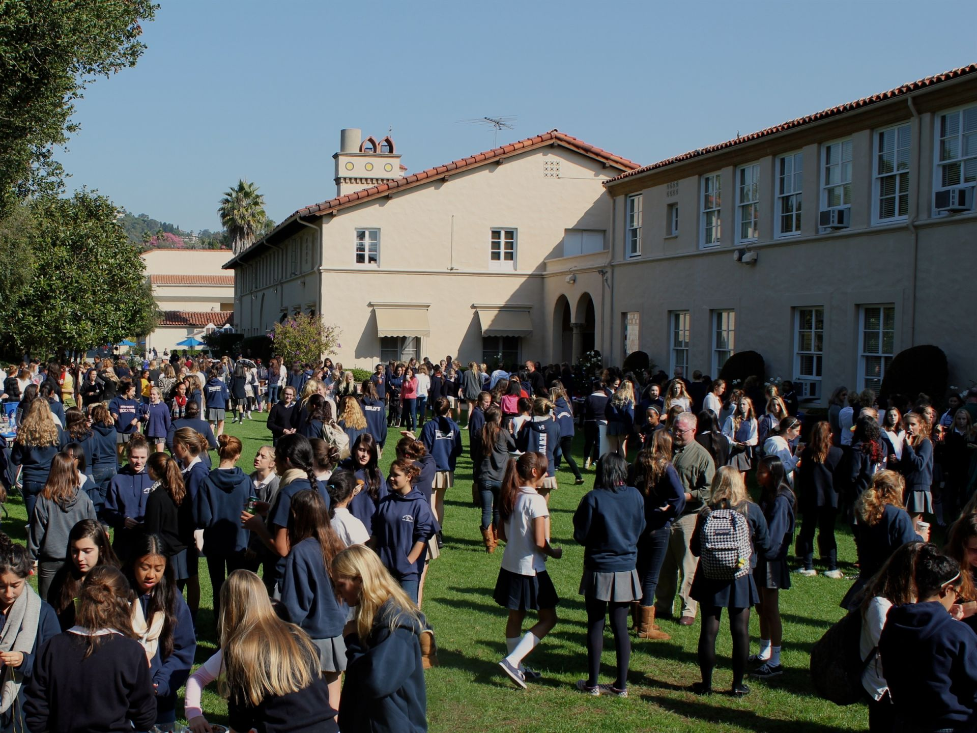 Heading back up to Senior Lawn, you will find there are always lots of school activities happening here.