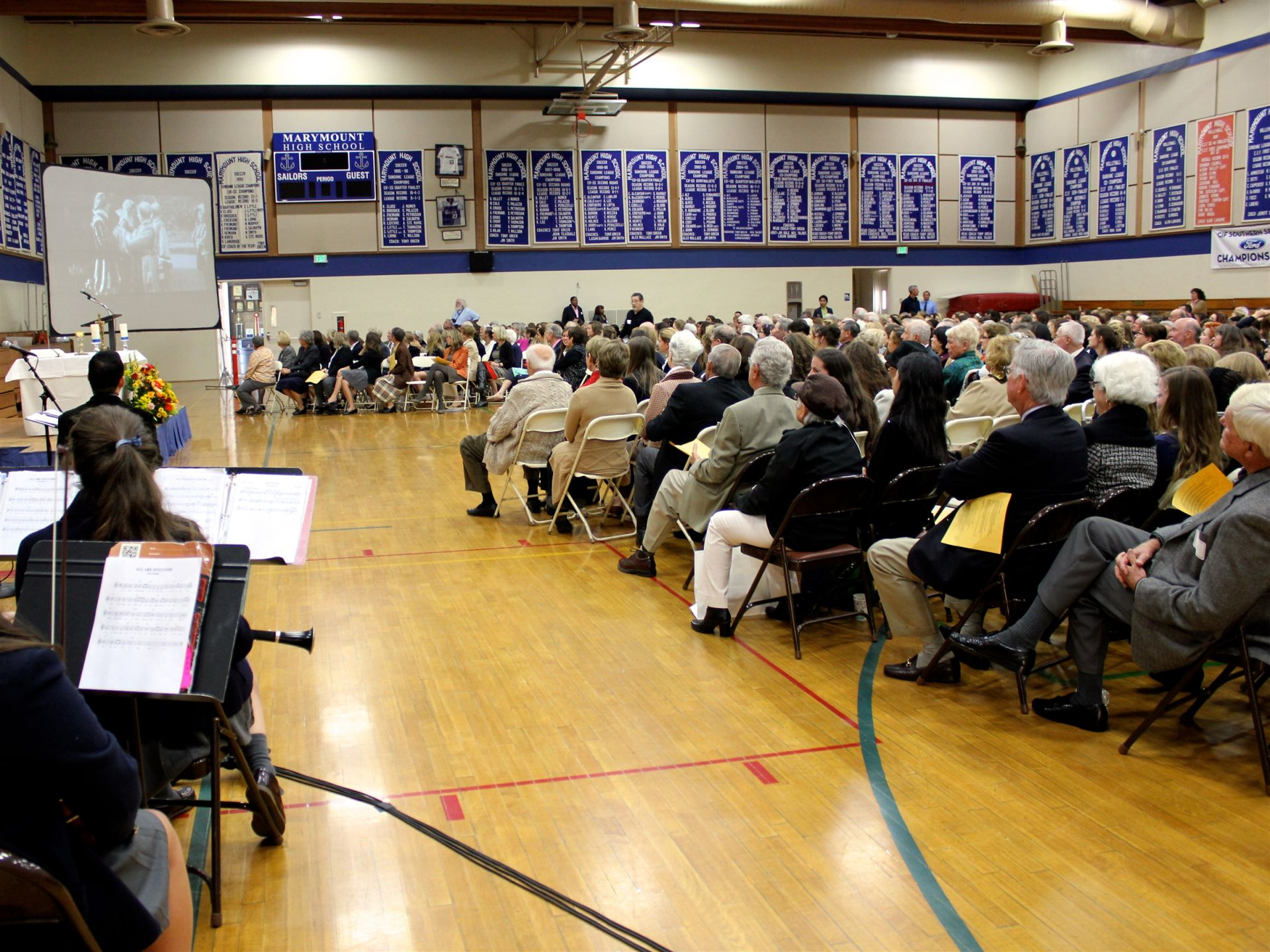 Or you may see an all-school Mass, like this one happening on Grandparents Visiting Day.