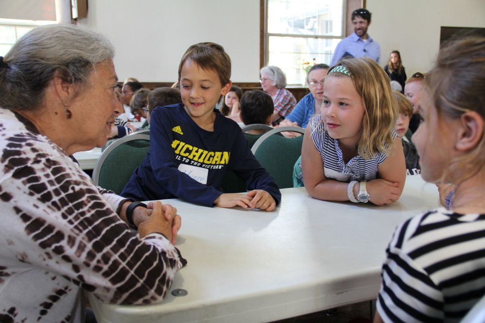 Every Wednesday Beauvoir second graders play bingo with 'grandfriends' at St. Albans Parish.