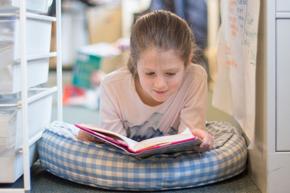 A literature-based reading program encourages children to read for meaning, information and pleasure.