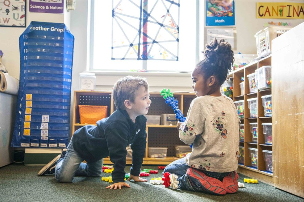 Pre-K students demonstrate empathy and practice their collaborative skills.