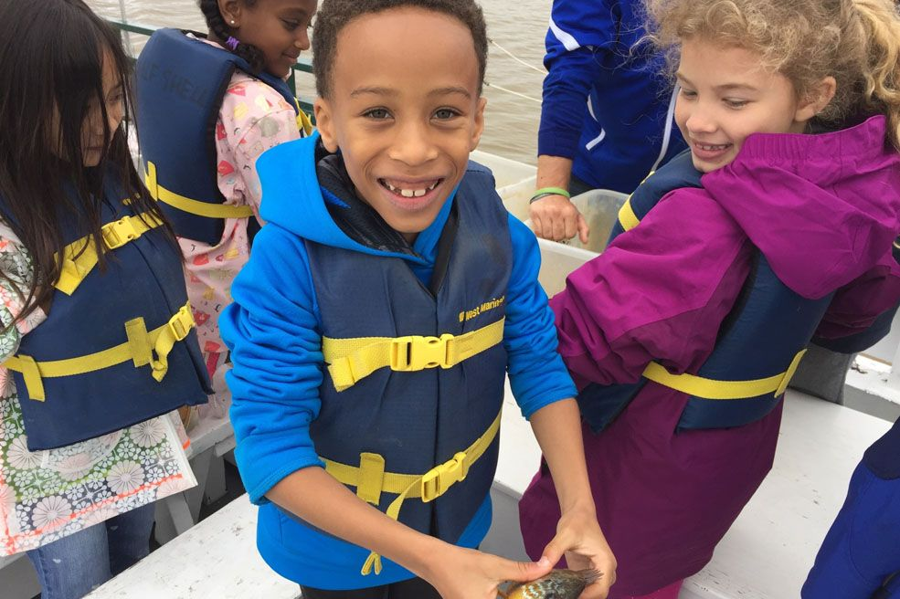 Second Grade students on a field trip with Living Classrooms boarded The Half Shell to catch fish and plankton, learn about the harmful effects of pollution, and build boat models of their own from tinfoil, duct tape and drinking straws in order to study buoyancy as they traveled from the Anacostia River into the Potomac.