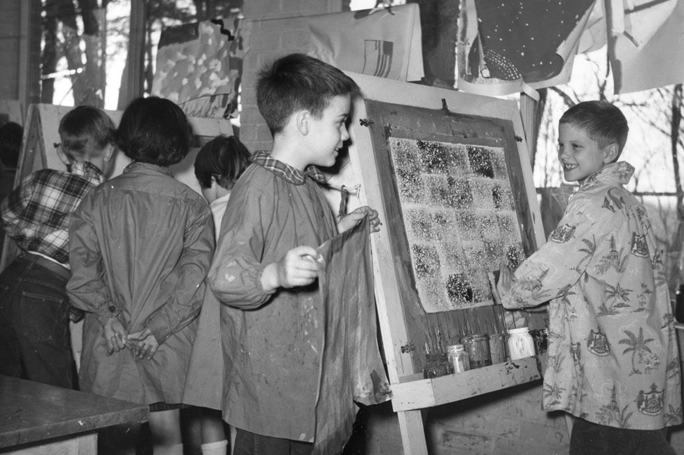 Easels and smocks in the art workshop