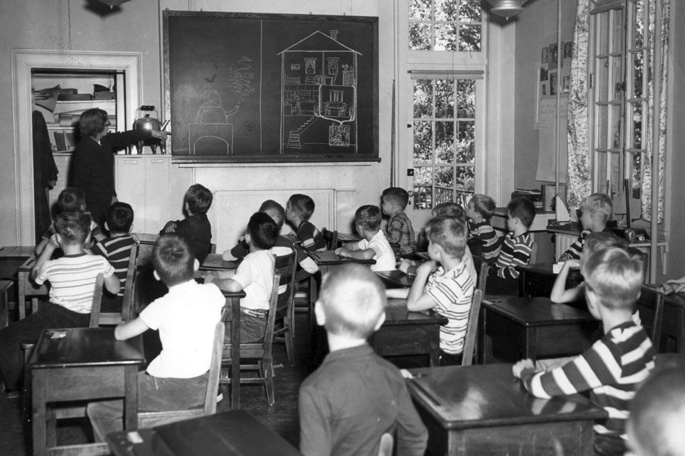A classroom inside the old Beauvoir mansion