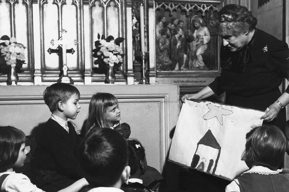 Mrs. Taylor in the Children's Chapel of the Cathedral