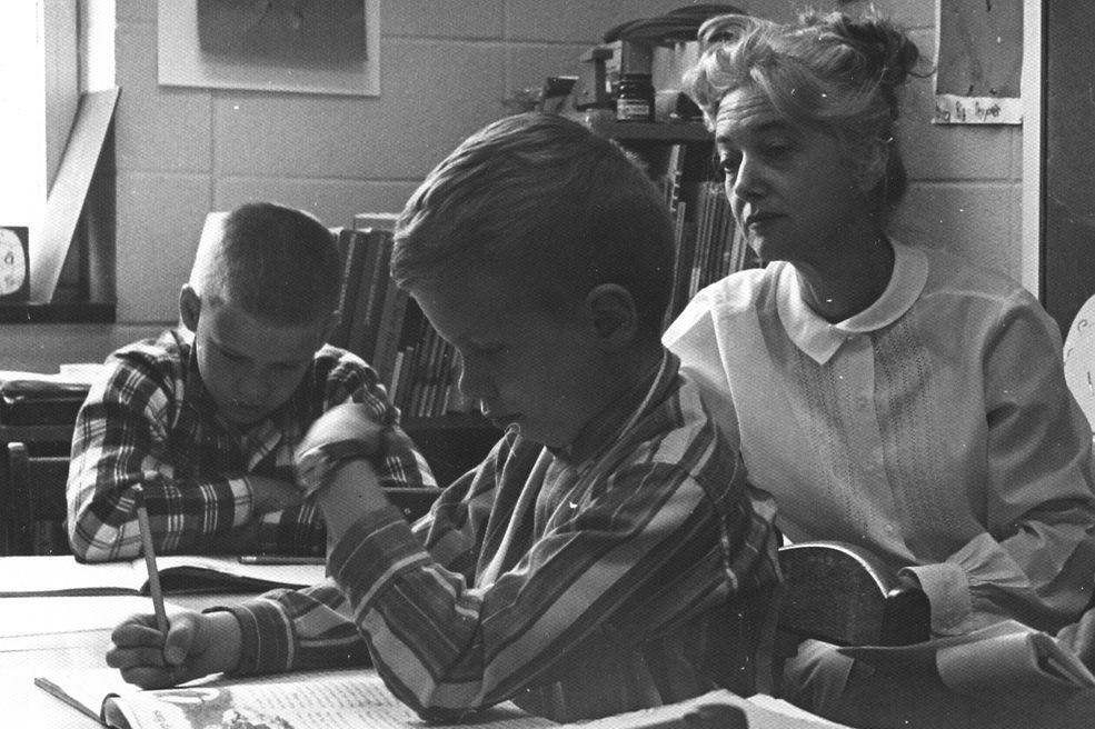 Principal Frances Borders in a classroom