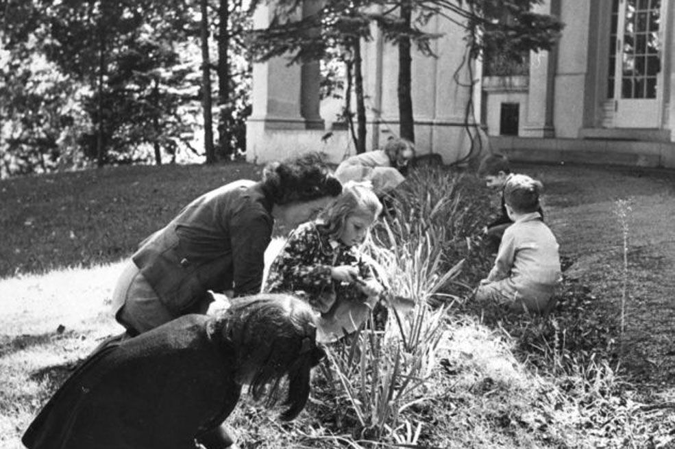 Mrs. Ackerson and students gardening in the mansion's front yard
