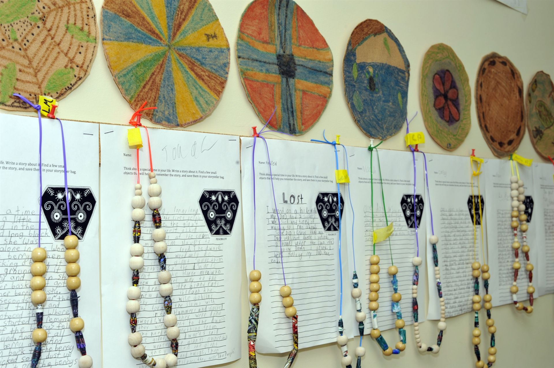 Fourth grade has created maps of mythical places in conjunction with their exploration of Marco Polo and the Silk Road. Third grade has made story teller bags and story beads as part of their study of the Native Americans of the Northeast Woodlands. Second grade has created Inti sun disks patterned after images created by the ancient Incas in South America. First grade has made ring toss games as they have been reading The Rough-Face Girl, a Native American Cinderella story.