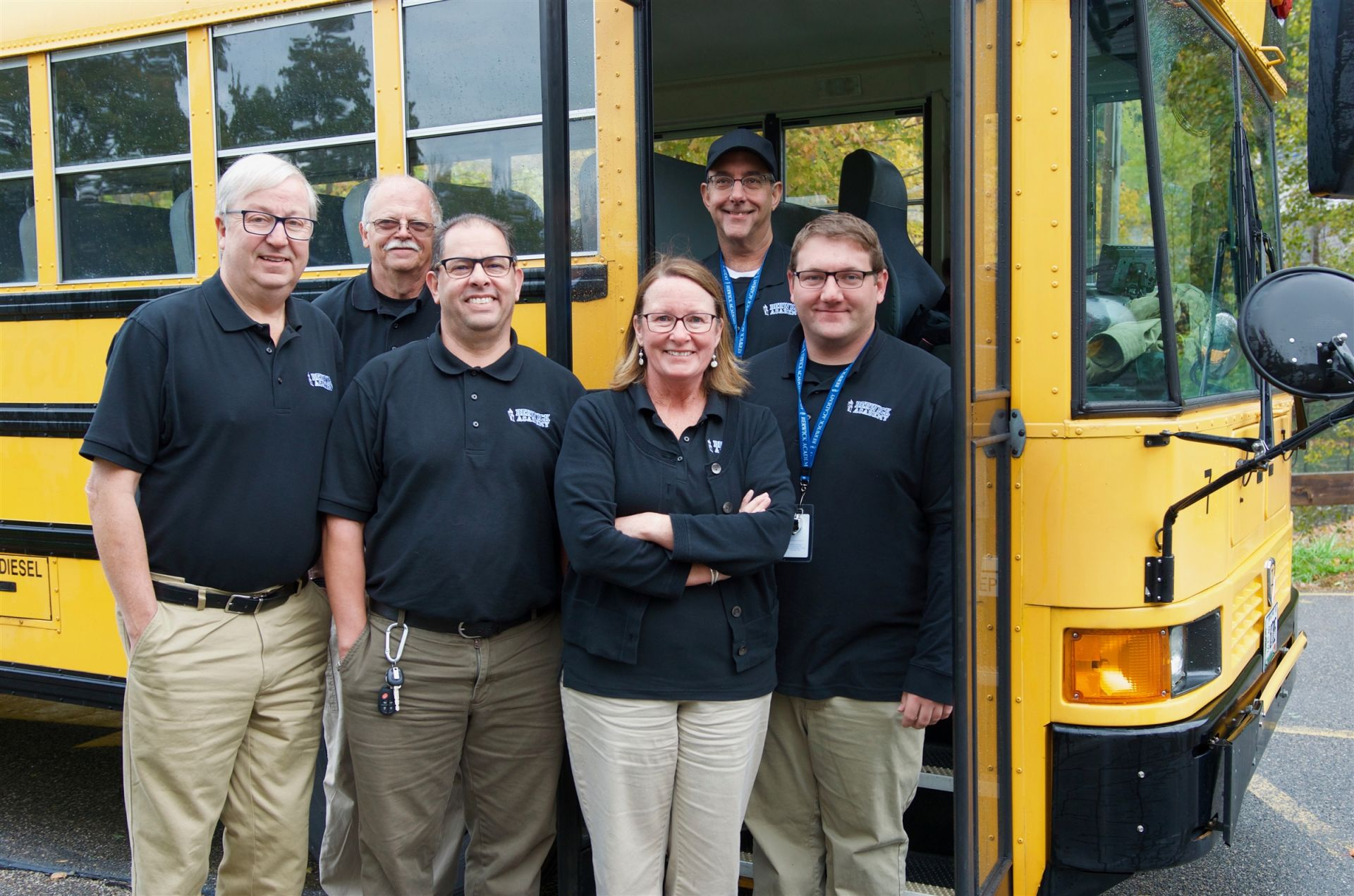 Berwick owns a fleet of buses and employs six experienced drivers. Our team is up early, inspecting buses and leaving campus daily at 6 a.m. to travel routes in Maine, New Hampshire, and Massachusetts. We believe that a students' day begins when they step onto our buses, and our drivers ensure that all students feel welcome and safe. We are so thankful for John, Ed, Abdeltif, Colleen, Ed, Les, and Cory, who all make daily connections with students while transporting them safely to and from campus.