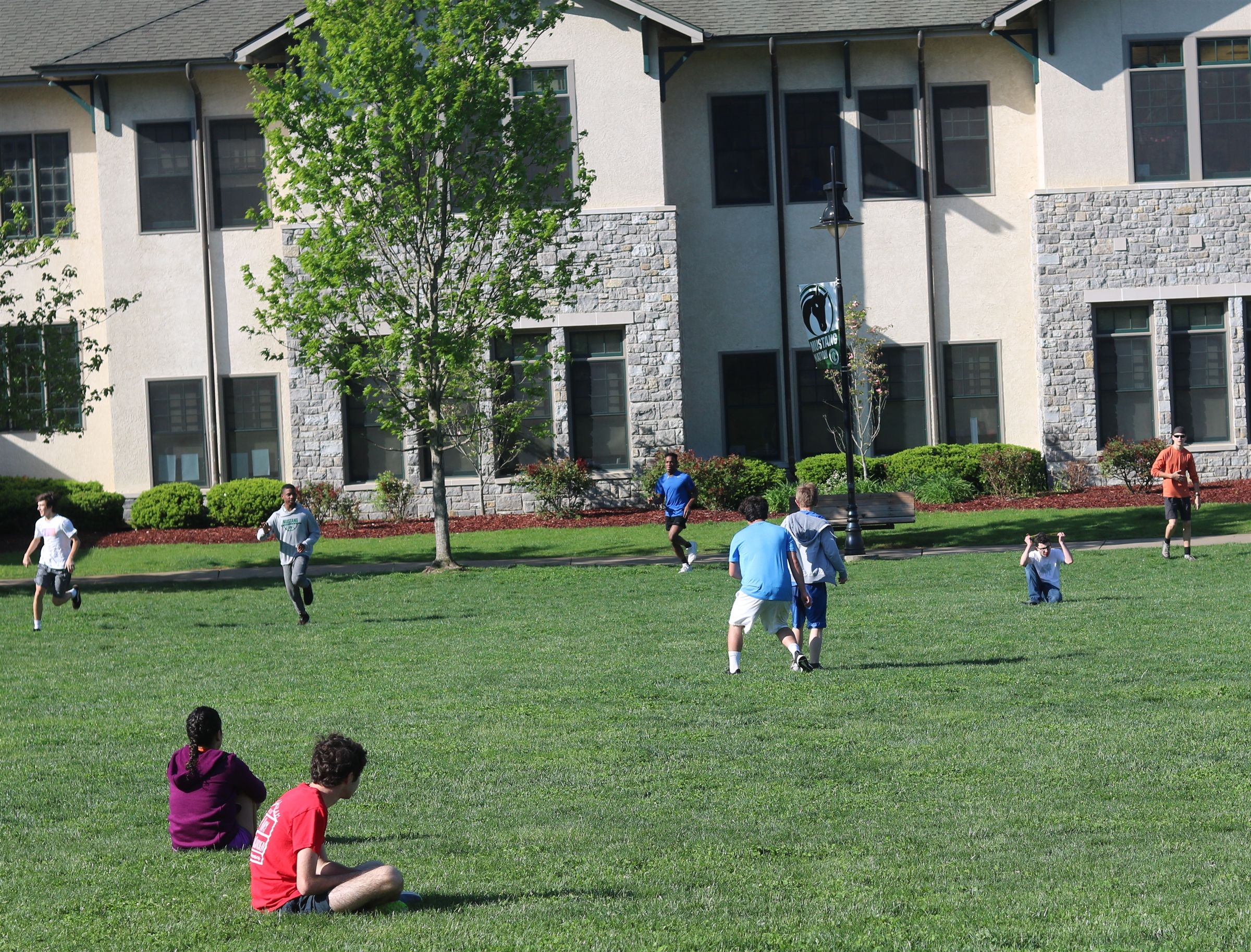 Students in the Residential Life Program can gather on the quad for evening games.