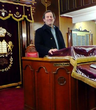 Rabbi Mitchell Wohlberg at the shul of his late father, Rabbi Harry Wohlberg.