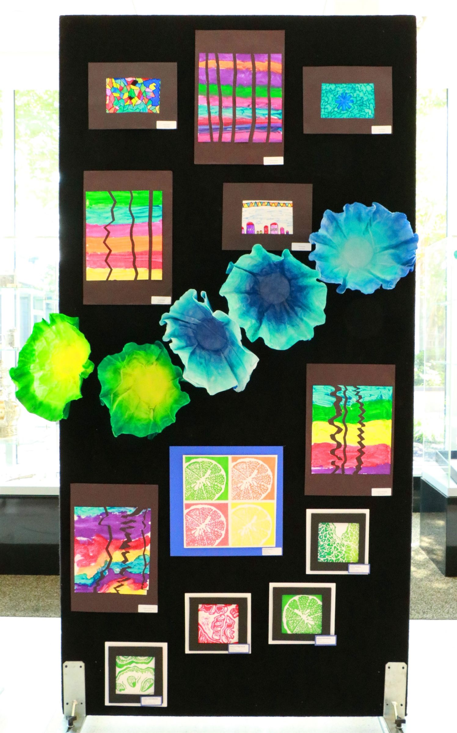 Student artwork displays