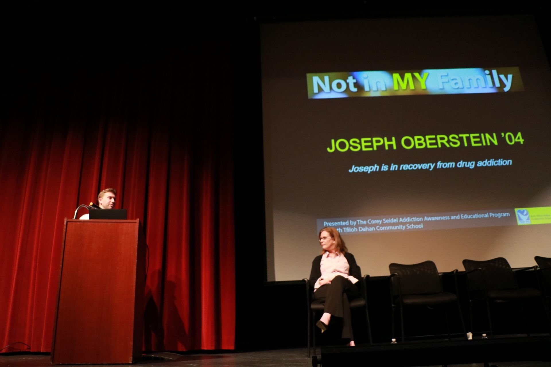 Joseph Oberstein, a former Talmudical Academy student and a Beth Tfiloh alumnus, described his journey to addiction recovery