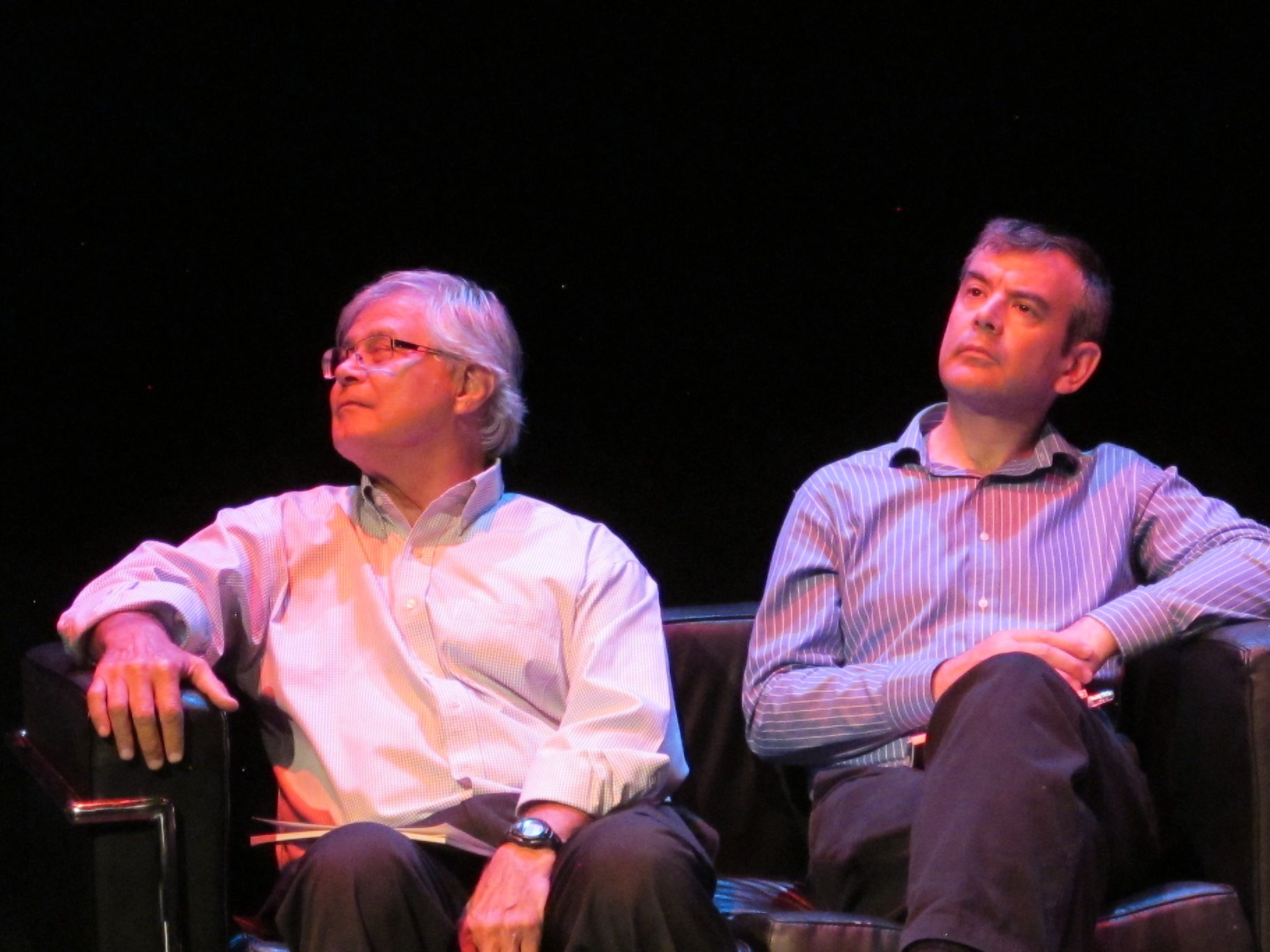 Ron Smith and British poet Michael Woods at the International Poetry Reading, Gerard Manley Hopkins Festival, Newbridge College, Ireland, July 2014