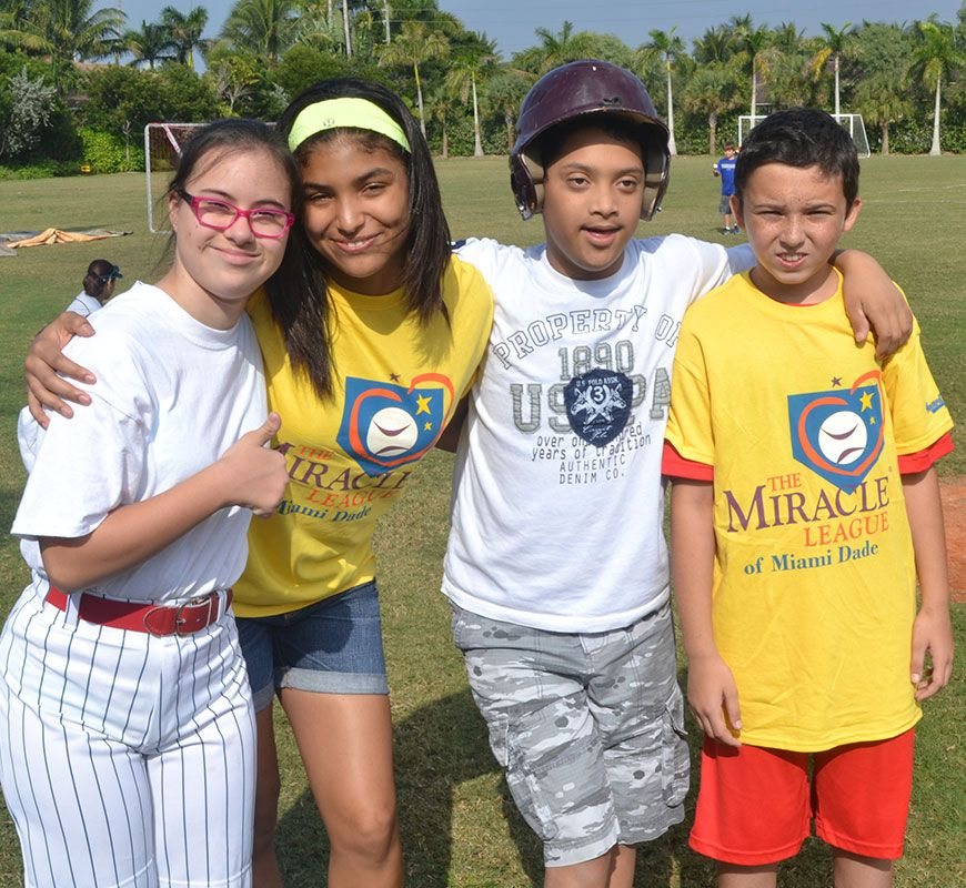 PTS Students volunteering at the Miracle League of Miami-Dade