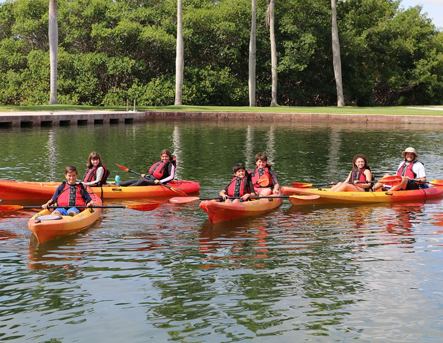 Falcon Summer Camp participants in kayaks in Biscayne Bay during the Deering Estate S.E.A. Program