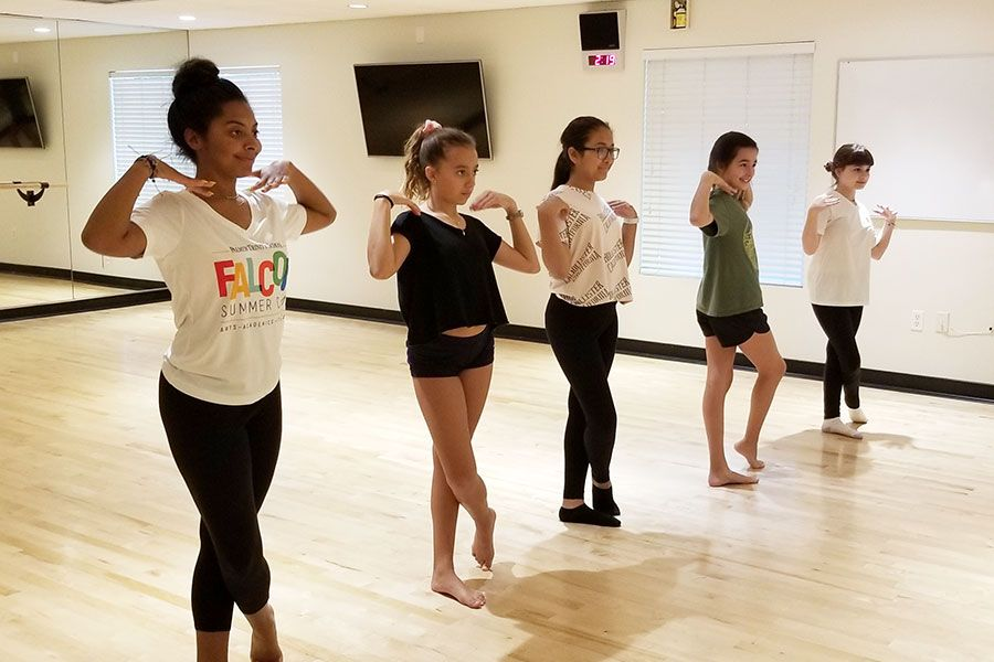 Participants in the Falcon Summer Camp Dance Class practicing their movements