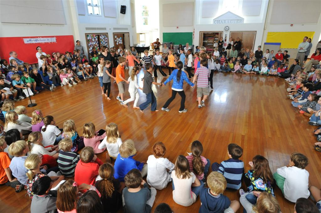 The Perrine Commons: The Lower School building has a central commons area which is used for rhythms classes, weekly assemblies and special events.