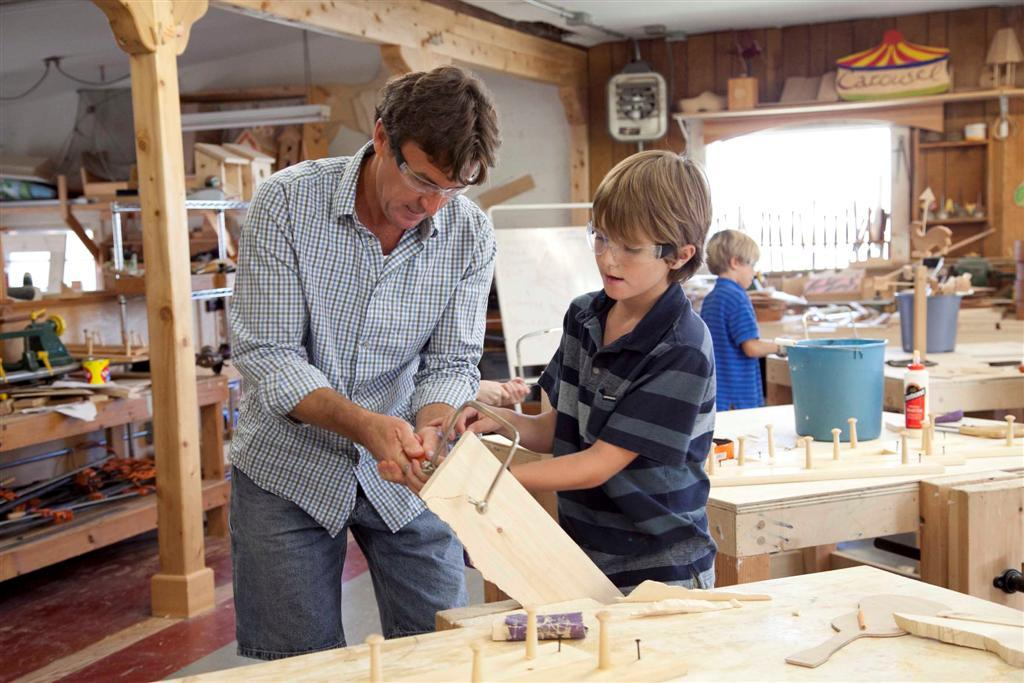 Students participate in wood shop in Grades 3 through 6 and again in Grade 9. Boys and girls meet in small classes to learn how to use hand and power tools, create beautiful and useful wooden projects, and study principles of design.